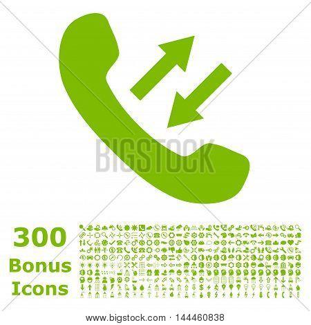 Phone Talking icon with 300 bonus icons. Vector illustration style is flat iconic symbols, eco green color, white background.