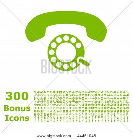 Pulse Dialing icon with 300 bonus icons. Vector illustration style is flat iconic symbols, eco green color, white background.