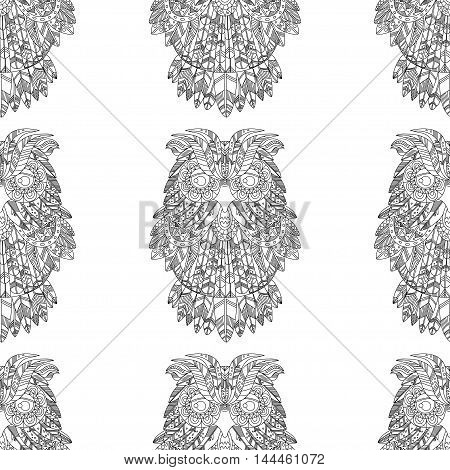 Big eagle owl. Birds. Hand drawn doodle zentangle. Ethnic patterned vector illustration. African, tribal, indian, oriental design. Sketch for adult antistress coloring page, poster, print, t-shirt