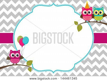 Owl party invitation card template with white frame for your text