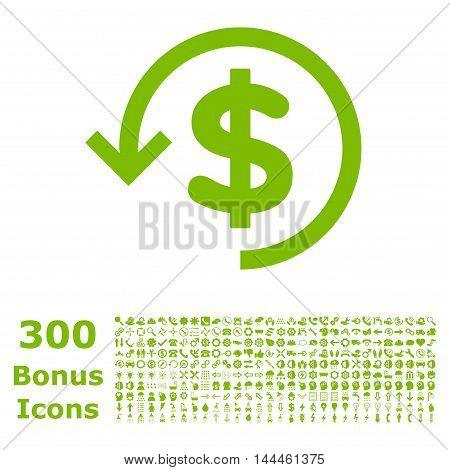 Refund icon with 300 bonus icons. Vector illustration style is flat iconic symbols, eco green color, white background.