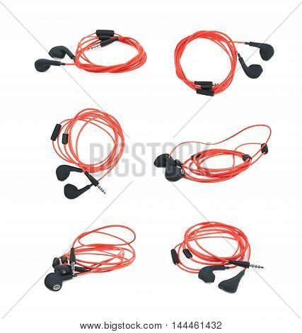 Pair of red headphones isolated over the white background, set of six different foreshortenings