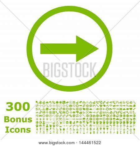 Right Rounded Arrow icon with 300 bonus icons. Vector illustration style is flat iconic symbols, eco green color, white background.