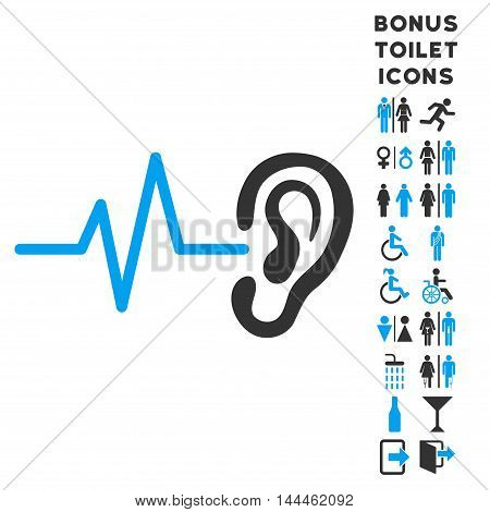 Listen Ear icon and bonus male and woman WC symbols. Vector illustration style is flat iconic bicolor symbols, blue and gray colors, white background.