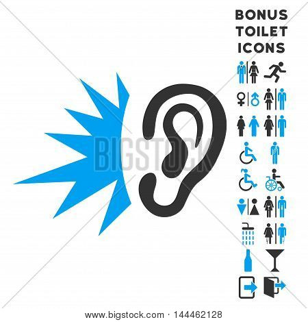 Listen Loud Sound icon and bonus man and female toilet symbols. Vector illustration style is flat iconic bicolor symbols, blue and gray colors, white background.
