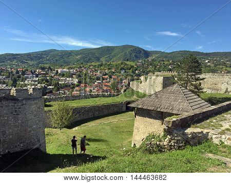 Travel to Europe under summer.Panoramic view from old castle in the Jajce,Bosnia and Herzegovina