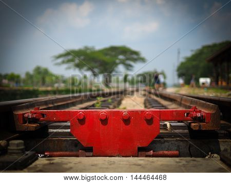 closeup railway on dark filter for background use