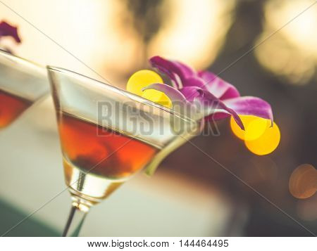 welcome drink on vintage filter for background or menu use