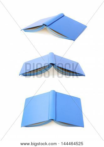 Blue copyspace note book isolated over the white background, set of three different foreshortenings