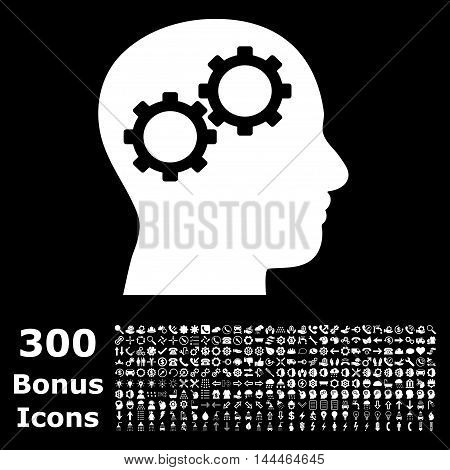 Brain Gears icon with 300 bonus icons. Vector illustration style is flat iconic symbols, white color, black background.