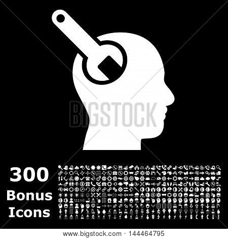 Brain Tool icon with 300 bonus icons. Vector illustration style is flat iconic symbols, white color, black background.