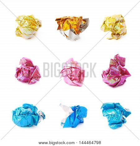Crumpled ball of colorful origami paper sheet isolated over the white background, set of nine different foreshortenings