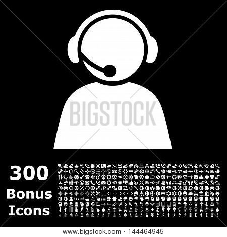 Call Center Operator icon with 300 bonus icons. Vector illustration style is flat iconic symbols, white color, black background.