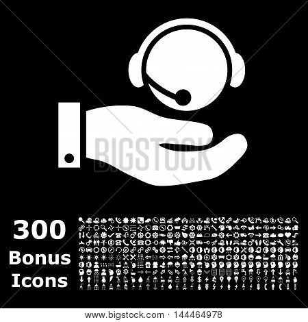 Call Center Service icon with 300 bonus icons. Vector illustration style is flat iconic symbols, white color, black background.