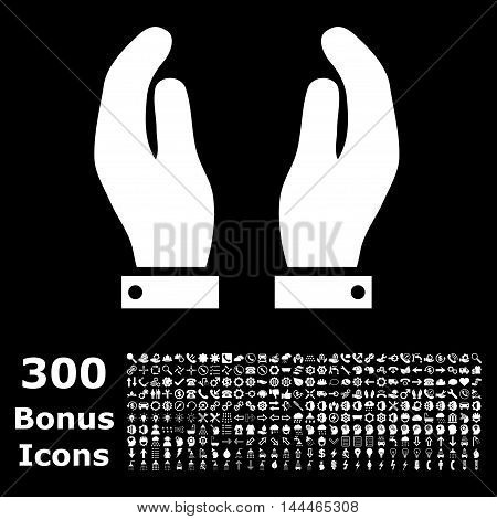 Care Hands icon with 300 bonus icons. Vector illustration style is flat iconic symbols, white color, black background.