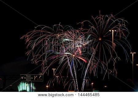 Picture of Color fireworks on black sky background