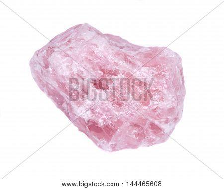 Raw quartz rose stone separated on white background
