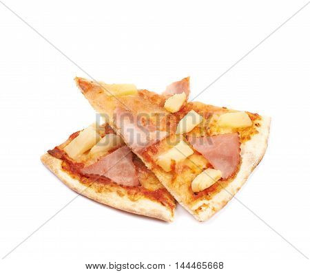 Few hawaiian pizza slices, composition isolated the white background
