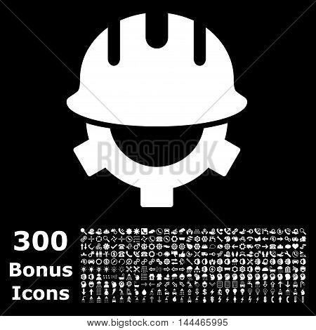 Development Helmet icon with 300 bonus icons. Vector illustration style is flat iconic symbols, white color, black background.
