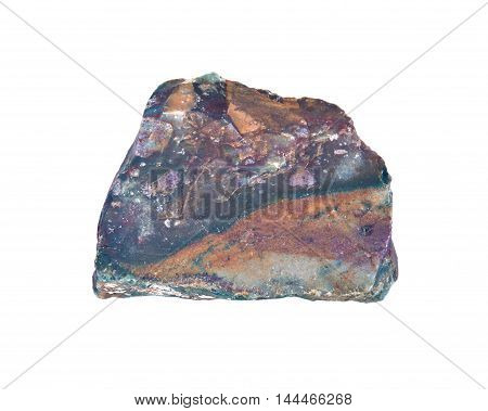 Raw fire agate separated on white background