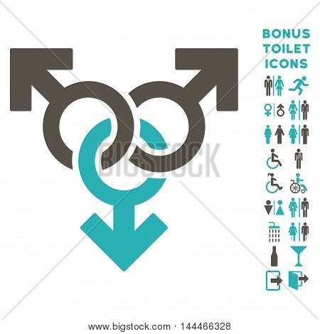 Group Gay Sex icon and bonus male and woman restroom symbols. Vector illustration style is flat iconic bicolor symbols, grey and cyan colors, white background.