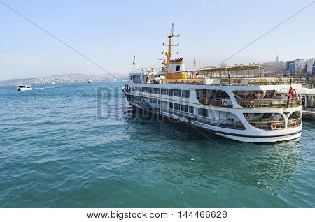 Istanbul Turkey - March 29 2013: Istanbul Ferries (called vapur in Turkish) continue to serve as a key public transport link for many Thousands of commuters tourists and vehicles per day.