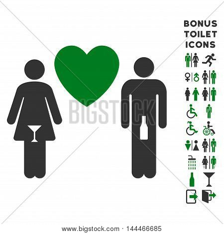 Drunky Love Pair icon and bonus man and woman lavatory symbols. Vector illustration style is flat iconic bicolor symbols, green and gray colors, white background.