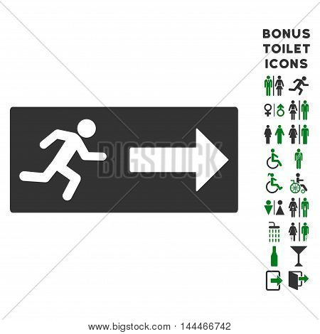 Emergency Exit icon and bonus man and woman WC symbols. Vector illustration style is flat iconic bicolor symbols, green and gray colors, white background.