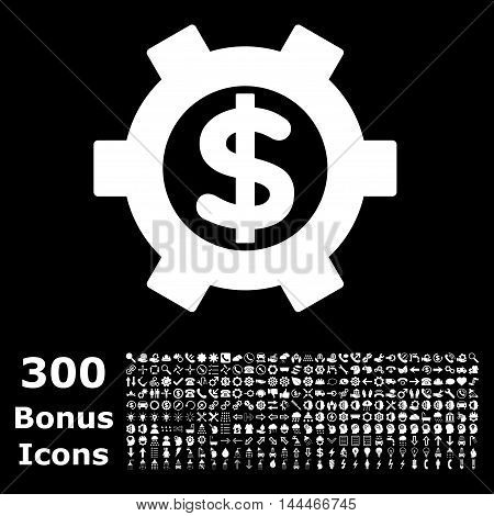 Financial Settings icon with 300 bonus icons. Vector illustration style is flat iconic symbols, white color, black background.