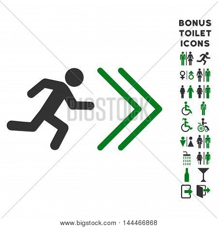 Exit Direction icon and bonus male and lady WC symbols. Vector illustration style is flat iconic bicolor symbols, green and gray colors, white background.