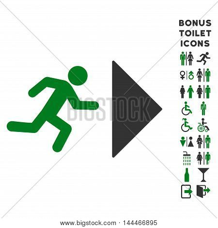 Exit Direction icon and bonus gentleman and female restroom symbols. Vector illustration style is flat iconic bicolor symbols, green and gray colors, white background.