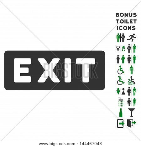 Exit Label icon and bonus man and woman WC symbols. Vector illustration style is flat iconic bicolor symbols, green and gray colors, white background.