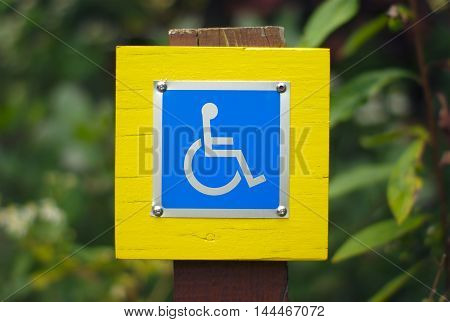 disabled blue pictogram accessibility sign for wheelchair
