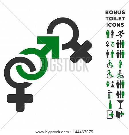 Faith Breach icon and bonus man and female lavatory symbols. Vector illustration style is flat iconic bicolor symbols, green and gray colors, white background.