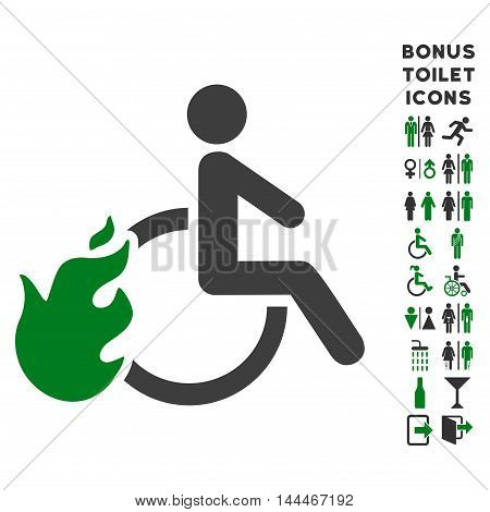 Fired Disabled Person icon and bonus man and female WC symbols. Vector illustration style is flat iconic bicolor symbols, green and gray colors, white background.
