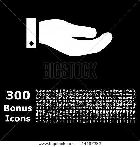 Hand icon with 300 bonus icons. Vector illustration style is flat iconic symbols, white color, black background.