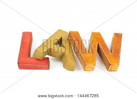 Word Law made of colored with paint wooden letters, composition isolated over the white background