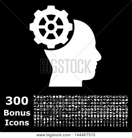 Head Gear icon with 300 bonus icons. Vector illustration style is flat iconic symbols, white color, black background.