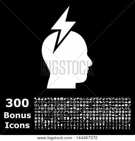 Headache icon with 300 bonus icons. Vector illustration style is flat iconic symbols, white color, black background.