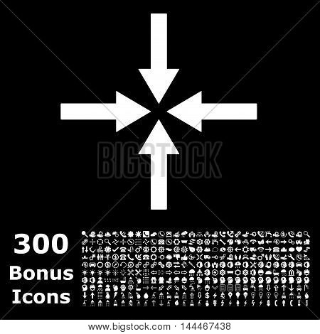 Impact Arrows icon with 300 bonus icons. Vector illustration style is flat iconic symbols, white color, black background.