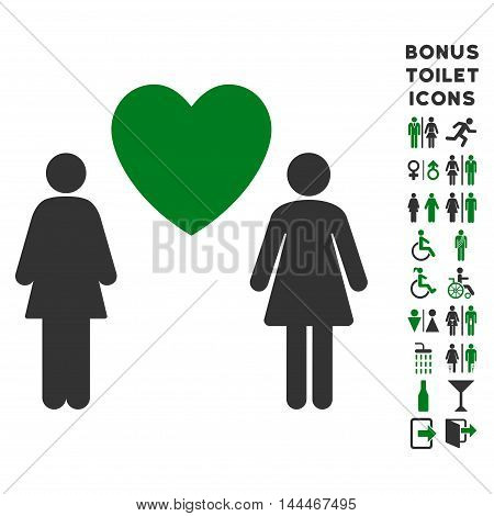 Lesbi Love Pair icon and bonus gentleman and female restroom symbols. Vector illustration style is flat iconic bicolor symbols, green and gray colors, white background.