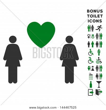 Lesbi Love Pair icon and bonus man and woman WC symbols. Vector illustration style is flat iconic bicolor symbols, green and gray colors, white background.