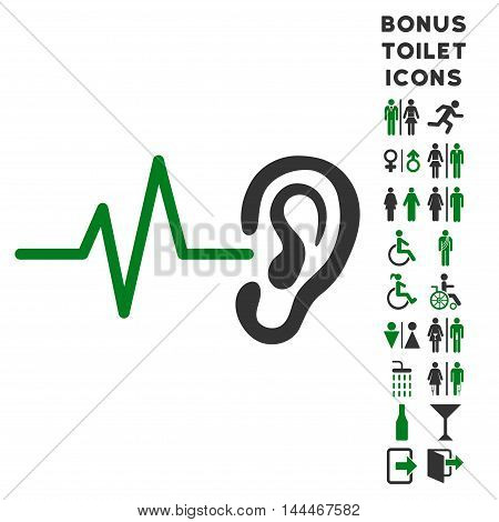 Listen Ear icon and bonus male and woman toilet symbols. Vector illustration style is flat iconic bicolor symbols, green and gray colors, white background.