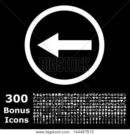 Left Rounded Arrow icon with 300 bonus icons. Vector illustration style is flat iconic symbols, white color, black background.