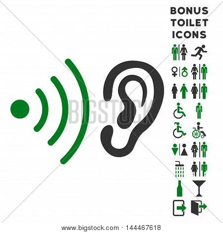 Listen News icon and bonus man and woman lavatory symbols. Vector illustration style is flat iconic bicolor symbols, green and gray colors, white background.