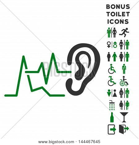 Listen Signals icon and bonus gentleman and lady toilet symbols. Vector illustration style is flat iconic bicolor symbols, green and gray colors, white background.