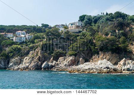 Typical Costa Brava landscape bank of sea