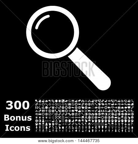 Magnifier icon with 300 bonus icons. Vector illustration style is flat iconic symbols, white color, black background.