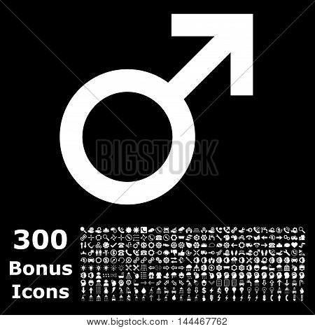 Male Symbol icon with 300 bonus icons. Vector illustration style is flat iconic symbols, white color, black background.