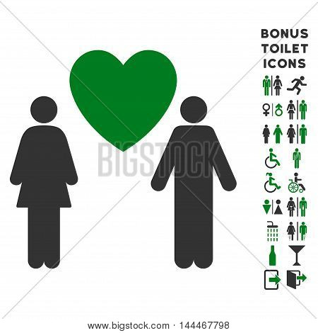 Love Couple icon and bonus male and female WC symbols. Vector illustration style is flat iconic bicolor symbols, green and gray colors, white background.